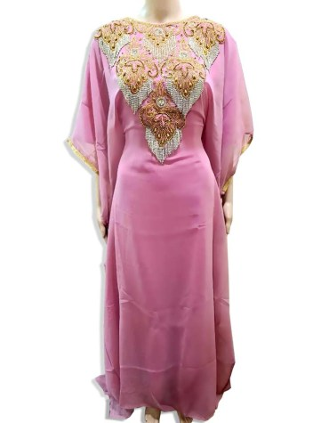 Elegant Gold Beaded Moroccan African Dresses for women's Evening party Chiffon Kaftan