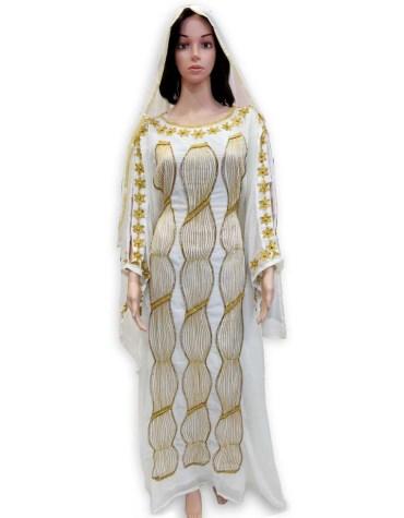 Elegant Beautiful African Premium Embroidered Chiffon Kaftan Trendy Wear For Women