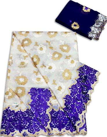 New Premium Collection Swiss Voile Dress Material with Golden And Purple Embroidery