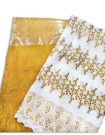 New Latest Collection Swiss Voile Dress Material with Golden Designer Beaded Work