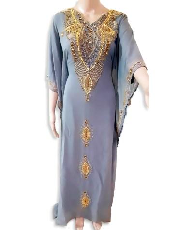 Women Gown Evening Dresses Golden Beaded Work Chiffon Moroccan African Kaftan