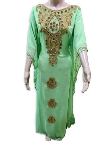 Classic Elegant Gown Evening Dresses Golden Beaded Chiffon Moroccan Dubai Kaftan