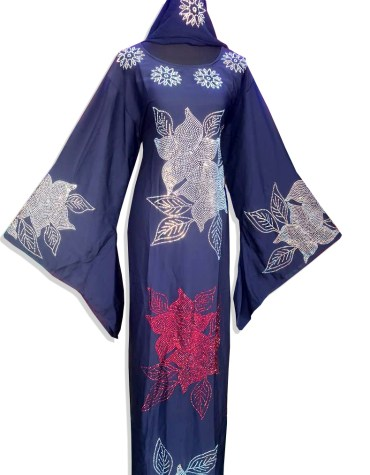 Latest Dress With Golden Beaded Work Chiffon Moroccan African Kaftan For Women