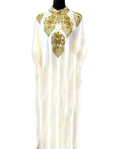 Trendy Shiny Bridal African Style Dress Material with Gold Beads Embroidery For Women