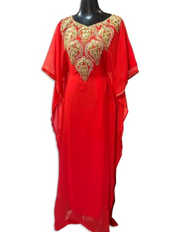 Classic Collection Evening Dresses Golden Beaded Chiffon Moroccan Kaftan For Women