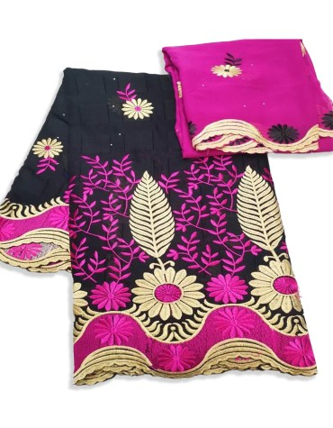 African Swiss Voile Cotton Dress Material with Gold and Fuchsia Designer Embroidery