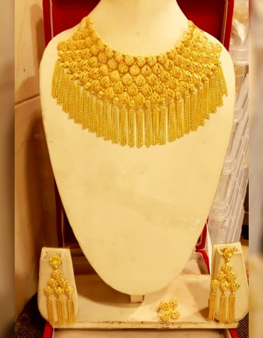 New Arrived 2 Gram Gold Party Wear Designer Necklace Jewellery Set