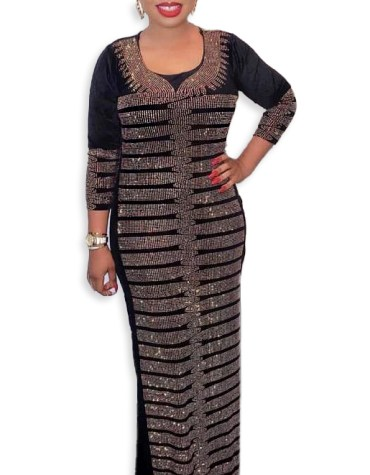 Newly Design Elegant African Attire Velvet Kaftan Elegant Rhinestone Work for Women