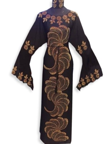 Latest Premium Dress Golden Beaded Work Chiffon Moroccan African Kaftan