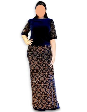 Newly Design Elegant African Velvet Kaftan with Rhinestone Beaded Work for Women
