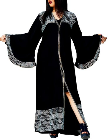 Trendy Party Wear Fancy Designer Long Shrug Abaya with Rhinestone Beaded