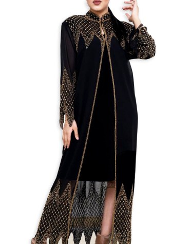 Long Shrug Abaya for Formal Evening Party Wear with Golden Rhinestone Beaded