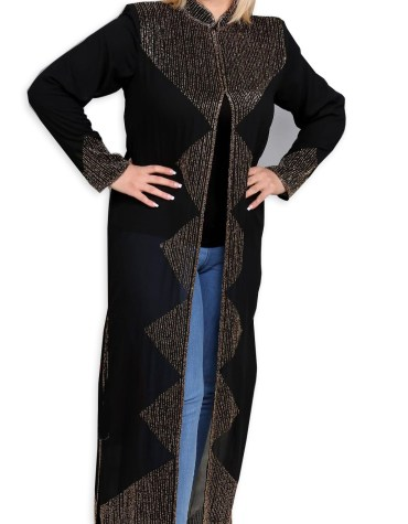 African Attire Long Shrug Abaya with Rhinestone Beaded for Evening party Wear