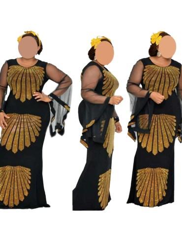 Newly Elegant Designer Velvet African Attire Kaftan with Golden Rhinestone Beaded Work