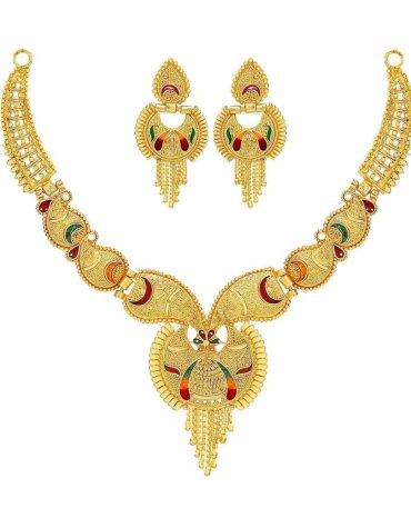Traditional Party One Gram Gold Work Golden Necklace Jewellery