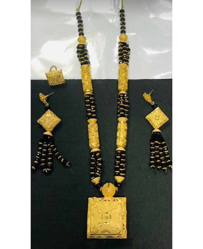 Unique Trendy Designer Black Beaded Necklace Set African Jewellery For Women