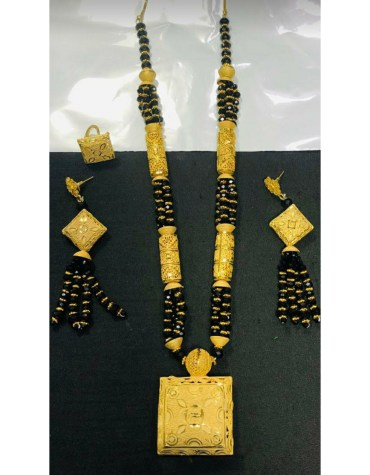 Unique Trendy Designer Black Beaded Necklace Set African Jewellery For Women