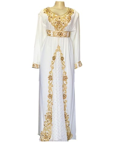 African New Gold Beads Work Formal Kaftan with Jacket Wedding for Women