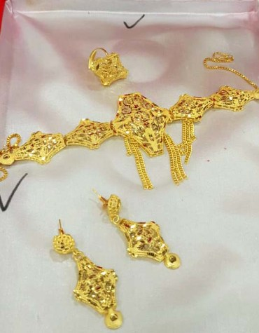 African 2 Gram Gold Jewellery Necklace and Earrings Set Party Wear For Women