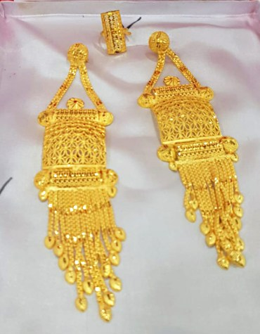 African New Trendy 2 Gram Gold Wedding Party Wear Earrings & Ring for Women