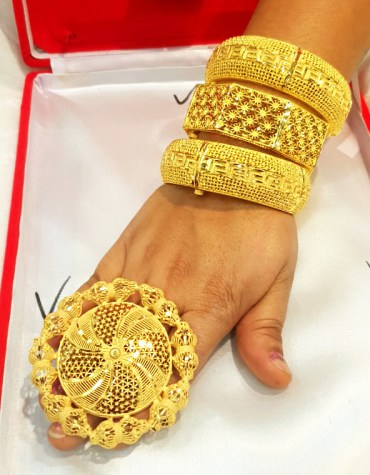 African Style Elegant Gold Bijoux Bangles Set Party Wear Jewellery For Women