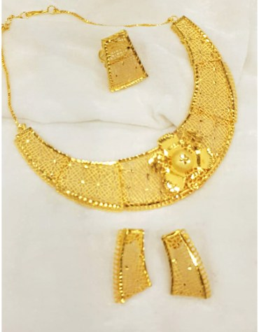African Elegant 2 Gram Gold Jewellery Necklace and Earrings Set Party Wear For Women