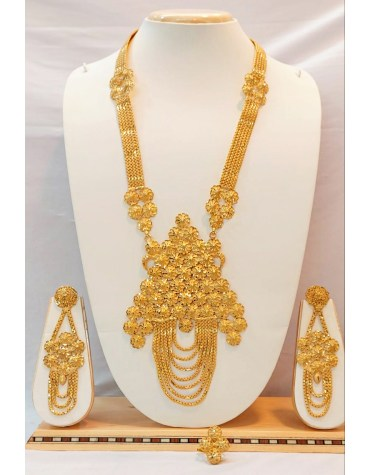 African Long Design Necklace Set With Earring & Finger Ring Set For Women