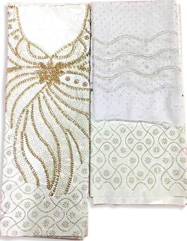 African Designer Evening 100% Super Magnum Gold Getzner Bazin Dress Material