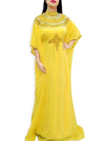 African Attire Elegant Moroccan Beaded Crystal Embellished Collared Dubai Kaftan