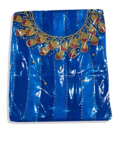 African Seed Beaded Satin Silk Attire Wedding party Dress Material for Women