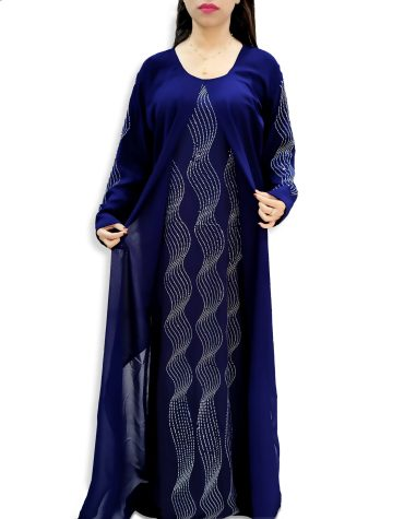 Premium Designer Moroccan Beaded Crystal Embroidery Party Dubai Kaftan For Women