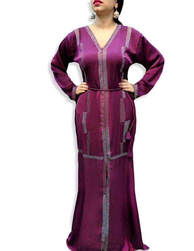 New Elegant Stylist Abaya Dress Party Wear Nida Fabric Rhinestone Work For Women