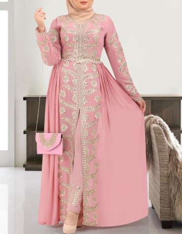 African Dubai Muslim Abaya Long Sleeve Wedding Embroidery Dresses for Women
