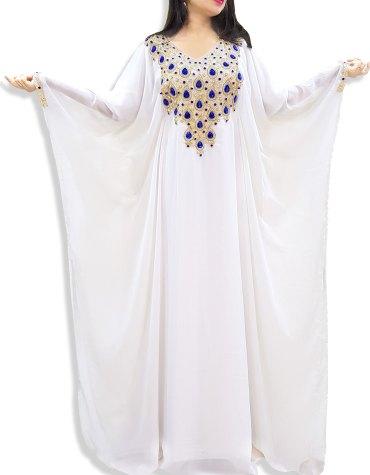 African Dress Crystal Stone Beaded Dubai Abaya White Chiffon Kaftan