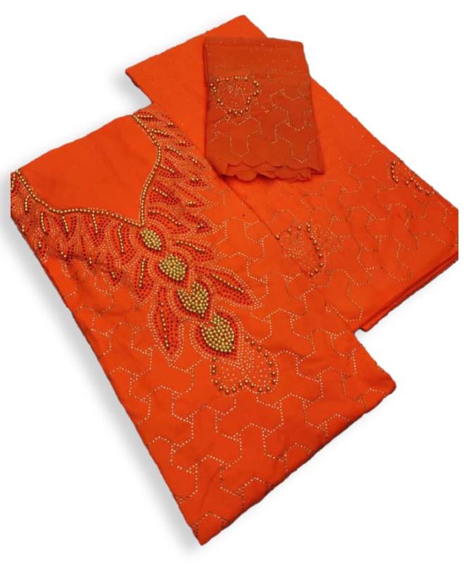 New Elegant African Attire Designer Beaded Satin Silk Dress Material For Women