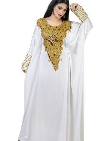 New Brillliant Elegant Floral Designer Long Sleeve Plus Size Beaded Moroccan Kaftans Dresses For Women
