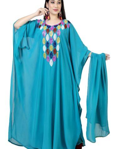 Brilliant Chiffon Dubai Designer Colorful Embellished Beaded Round Neck Kaftan Dress