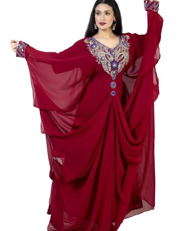 Trendy African Attire Farasa Dubai Based Uniquely Designed Chiffon Kaftan for Women