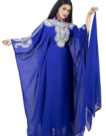 Round Collared Moroccan Embroidery Full Sleeves Chiffon Kaftan Dress For Women