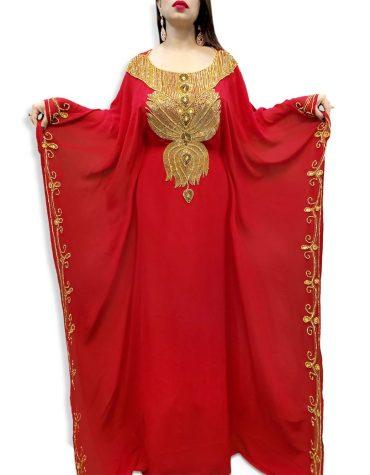 Women Muslim Heavy Golden Beaded Wedding Premium Dubai Red Kaftan for Women