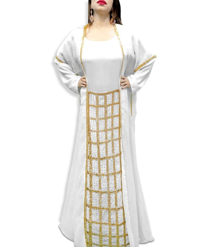Stunning Jacket Style Abaya Dubai Moroccan Beaded Kaftan Evening Dress Gown For Women