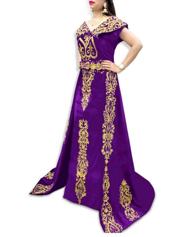 New Fancy Elegant African Attire Velvet Kaftan Embroidery Work For Women
