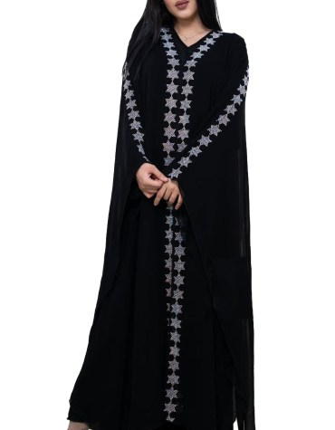 Trendy Party Wear Fancy Designer Light Weight Abaya with Rhinestone Beaded
