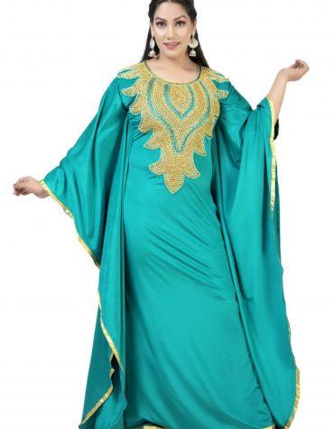 Gold Moroccan Beaded Sea Green Fancy Trendy Party Wear Designer Lycra kaftan