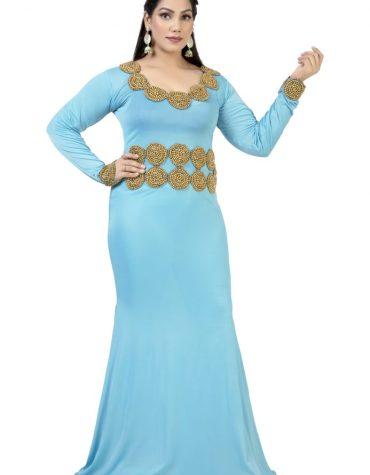 Gold Moroccan and Seed Beaded Firozi Fancy Party Wear Designer Lycra kaftan
