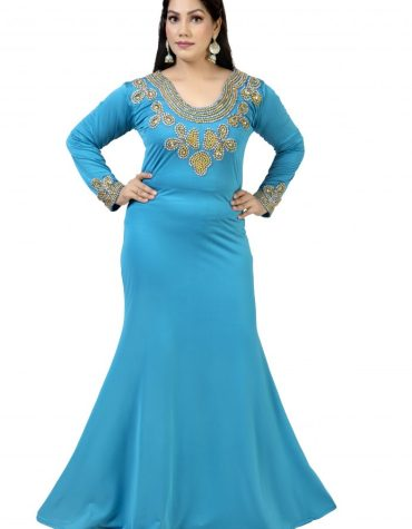 Party Wear Designer Lycra kaftan with Gold Moroccan and Crystal Stone Beads