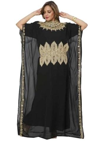 Designer Embellished Wedding Dress Chiffon Collared Wear Kaftan for Women