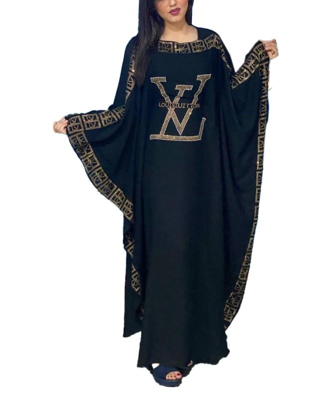 Latest Design Silver Rhinestone Beaded Umbrella Sleeves Chiffon Kaftan for Women