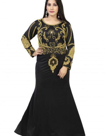African Wedding Dress Golden Beaded Lycra Kaftan Fancy Wear for Women