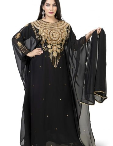New Women Morroccan Designer Beaded Round Neck Farasa Style Kaftan Dress